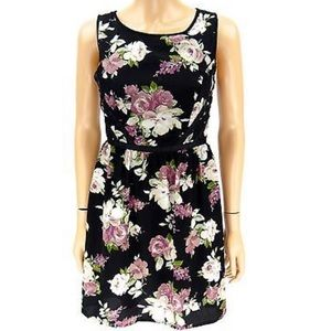 Three pink hearts black and floral dress